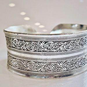 Maya Tibetan Silver Cuff Bracelet. Online only!